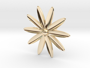 Hole Plug 0003 - flower in 14k Gold Plated Brass