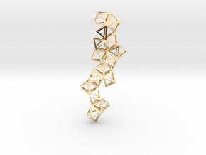 Tetrahedrons pyramids drop pendant in 14K Yellow Gold