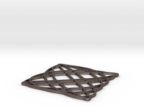 Lissajous coaster 5:6 pi/4 in Polished Bronzed Silver Steel