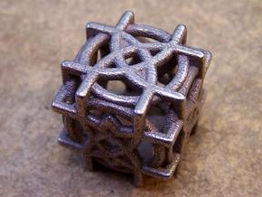Rosette D6 Dice  in Polished Bronzed Silver Steel