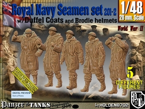 1/48 Royal Navy Duffel Coat Set201-2 in Smooth Fine Detail Plastic