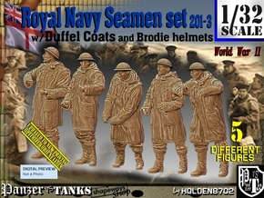 1/32 Royal Navy Duffel Coat Set201-3 in White Natural Versatile Plastic