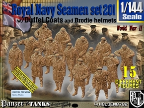 1/144 RN Seamen Duffel Coat Set201 in Smooth Fine Detail Plastic