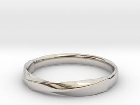 FlatMobius032 ring in Rhodium Plated Brass