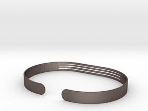 Front Striped Bracelet in Polished Bronzed Silver Steel