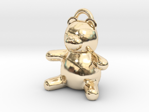 Tiny Teddy Bear w/loop in 14K Yellow Gold