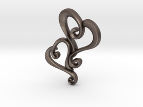 Swirly Hearts Pendant/Keychain in Polished Bronzed Silver Steel