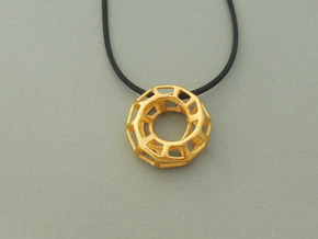 Mobius Torus Pendant in Polished Steel in Polished Gold Steel