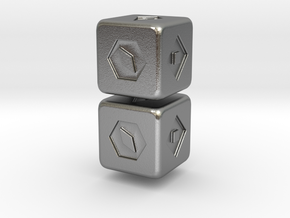 Han Solo's Sabacc Lucky Dice - Double for chain in Natural Silver