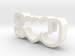 I Love You cookie cutter in White Strong & Flexible Polished