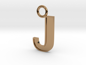 Letter J Key Ring Charm in Polished Brass