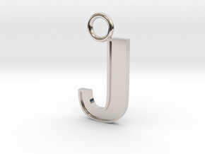 Letter J Key Ring Charm in Rhodium Plated Brass