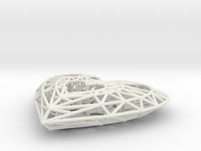 Geometric Heart Pendant in White Natural Versatile Plastic