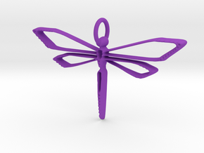Dragonfly Wire Pendant in Purple Processed Versatile Plastic