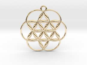 """Flowering Seed of Life Pendant 1"""" in 14k Gold Plated Brass"""