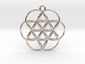 Flowering Seed of Life Pendant Small Pendant  in Platinum