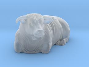 1/87 Lying Hereford Bull Left Turn in Smooth Fine Detail Plastic