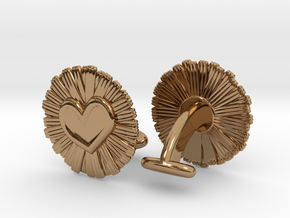 Daisy Heart Cufflinks in Polished Brass