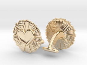 Daisy Heart Cufflinks in 14K Yellow Gold