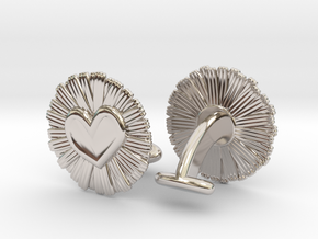 Daisy Heart Cufflinks in Rhodium Plated Brass