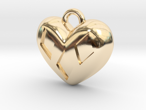 Diamond Kissed Heart Pendant in 14k Gold Plated Brass: Extra Small