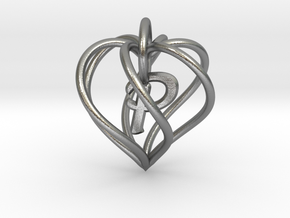 My Heart is Yours pendant, interlocking Initial P in Interlocking Raw Silver