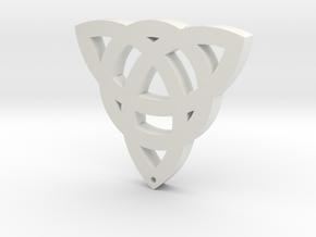Trinity Cross Ornament in White Natural Versatile Plastic