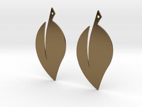 Leaf Earrings V2 in Polished Bronze