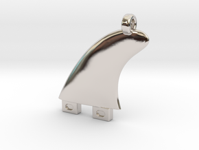 Surfboard fin jewel in Rhodium Plated Brass