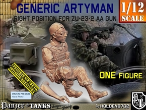 1/12 Right Artyman for ZU-23-2 AA Gun in White Natural Versatile Plastic