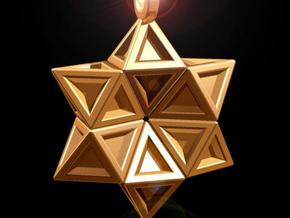 Star of David Pendant  in Polished Bronzed Silver Steel