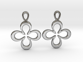 Four-leaf clover. Earrings in Fine Detail Polished Silver