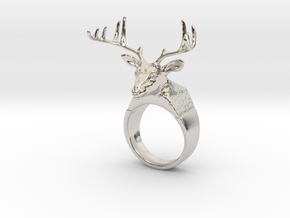 Ring Deer in Rhodium Plated Brass
