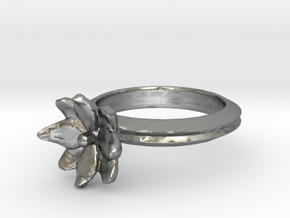 Simple Lotus Flower Ring in Natural Silver