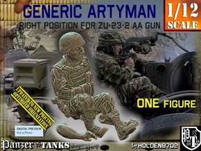 1/12 Right Artyman for ZU-23-2 AA Gun 022 in White Natural Versatile Plastic