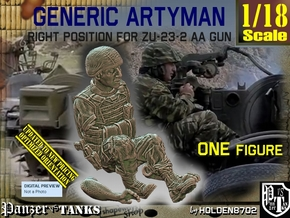 1/18 Right Artyman for ZU-23-2 AA Gun 022 in White Natural Versatile Plastic