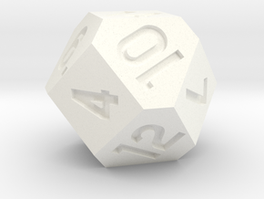 d14 Cuboctahedron Variant - Jumbo in White Strong & Flexible Polished