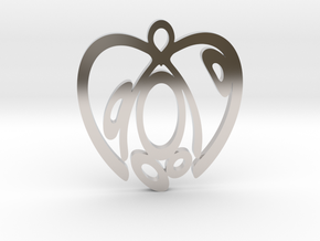 Capacious heart. Pendant in Rhodium Plated Brass