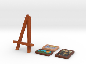 Easel and painting(3 x Images ) in Full Color Sandstone
