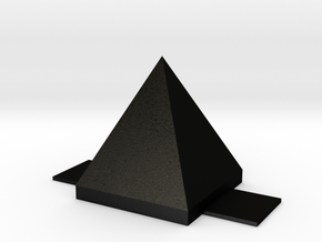 Pyramid: with base (no holes) in Matte Black Steel