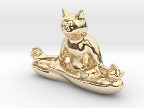 Meditating Cat in 14K Yellow Gold: Extra Small