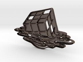 Rubix Cube Art Pendant in Polished Bronzed Silver Steel