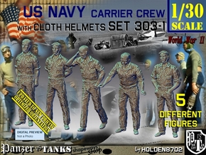1/30 USN Carrier Deck Crew Set303-1 in White Natural Versatile Plastic