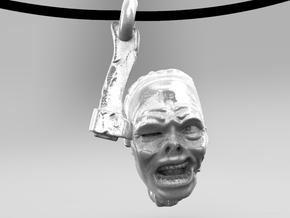 """Sliced Zombie Head on Ax"" pendant in White Processed Versatile Plastic"