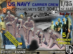 1/35 USN Carrier Deck Crew Set304-1 in Smooth Fine Detail Plastic