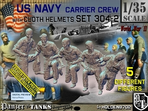 1/35 USN Carrier Deck Crew Set304-2 in Smooth Fine Detail Plastic