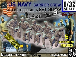 1/32 USN Carrier Deck Crew Set304-2 in Smooth Fine Detail Plastic