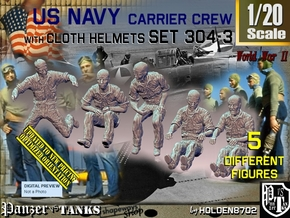 1/20 USN Carrier Deck Crew Set304-3 in White Natural Versatile Plastic