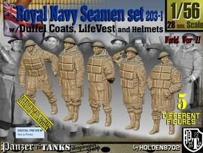 1/56 Royal Navy D-Coat+Lifevst Set203-1 in Smooth Fine Detail Plastic