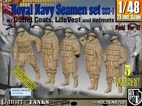 1/48 Royal Navy D-Coat+Lifevst Set203-1 in Smooth Fine Detail Plastic